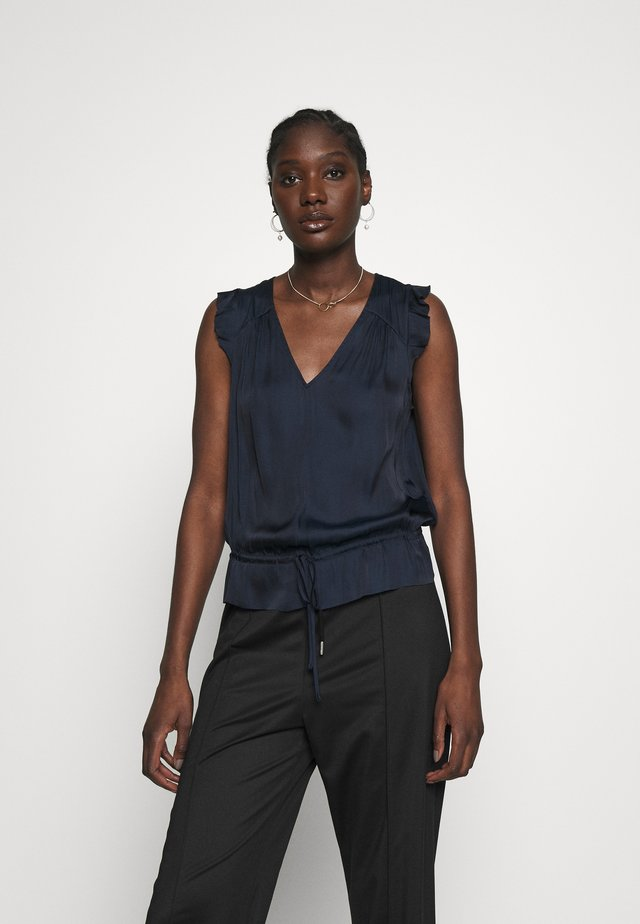 CINCHED WAIST RUFFLE  - Blouse - navy