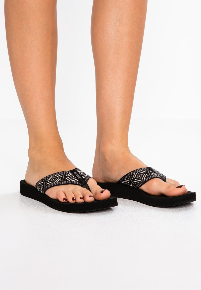 Reef - SPRING  - T-bar sandals - black/white