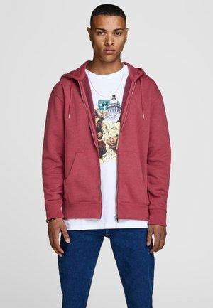 JJESOFT ZIP HOOD - Zip-up hoodie - brick red