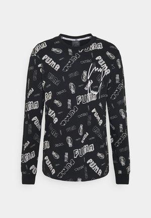 HOOPS TEE - Maglietta a manica lunga - black