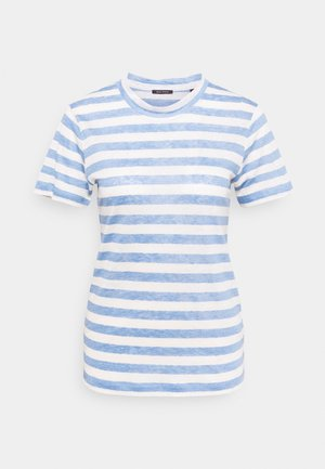 SHORT SLEEVE ROUND NECK SLIM FIT STRIPED - Triko s potiskem - mutli/washed cornflower