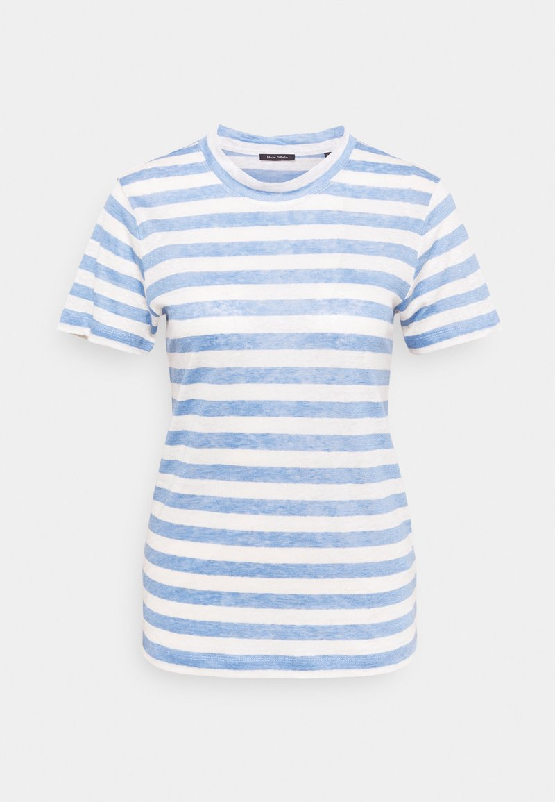 Marc O'Polo - SHORT SLEEVE ROUND NECK SLIM FIT STRIPED - T-shirts med print - mutli/washed cornflower