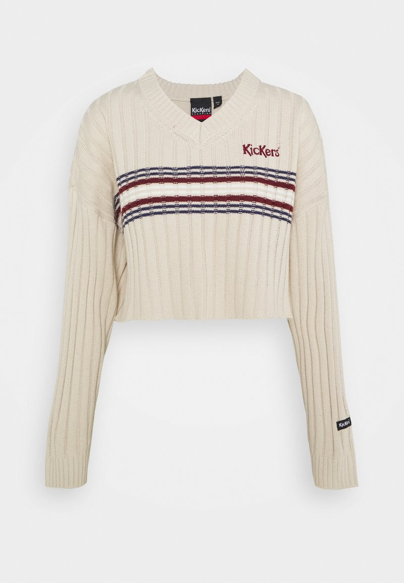 Kickers Classics - WIDE CROPPED V NECK  - Jumper - beige