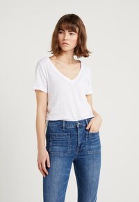 J.CREW - VINTAGE V NECK TEE - Basic T-shirt - white - 0