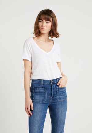 VINTAGE V NECK TEE - T-Shirt basic - white