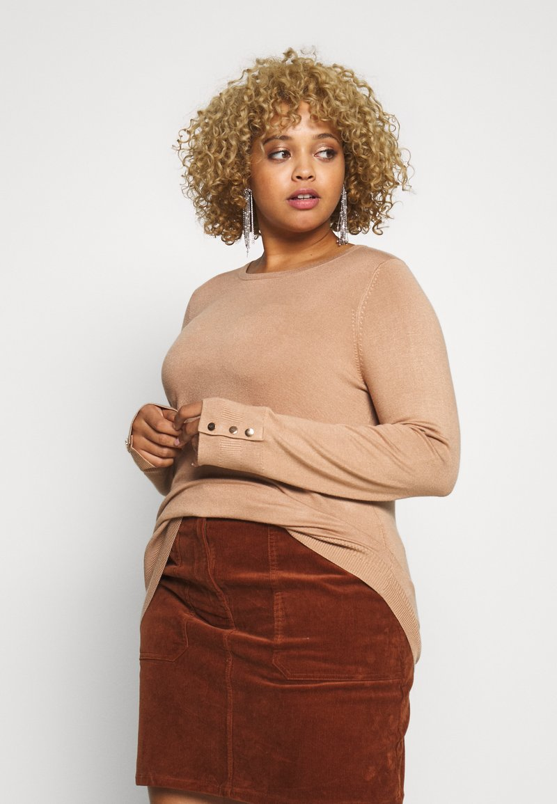 Dorothy Perkins Curve - BUTTON CUFF JUMPER - Sweter - camel