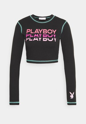 PLAYBOY TRIPLE LOGO CONTRAST STITCH CROP - T-shirt à manches longues - black