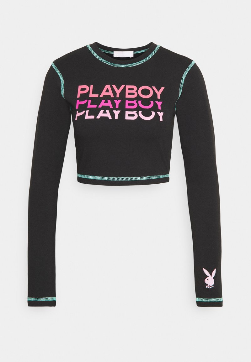 Missguided - PLAYBOY TRIPLE LOGO CONTRAST STITCH CROP - T-shirt à manches longues - black