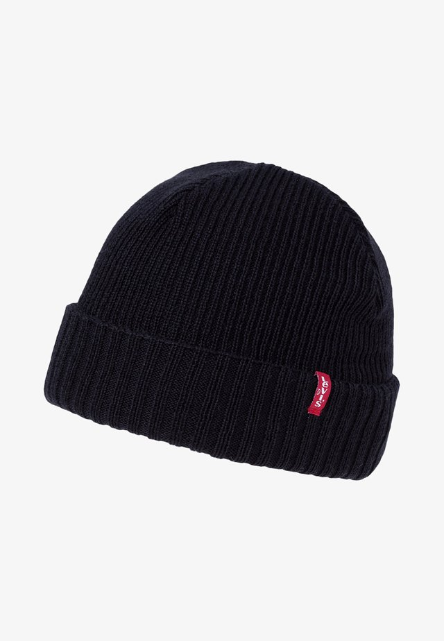 RIBBED BEANIE - Mütze - regular black