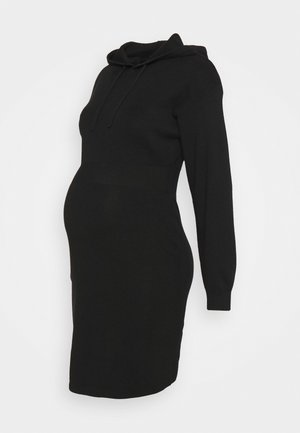HOODED DRESS - Vestido de punto - black