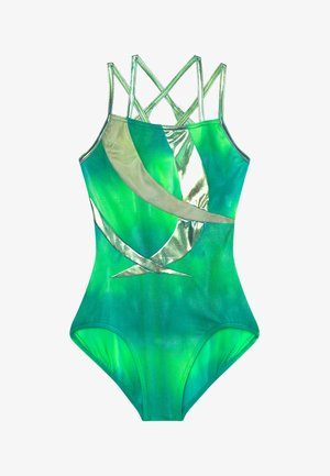GIRLS' GYMNASTICS DOUBLE STRAP LEOTARD - Danspakje - green/multi