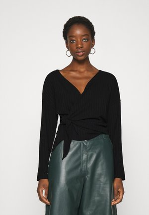 LUXURIOUS WRAP - Long sleeved top - black
