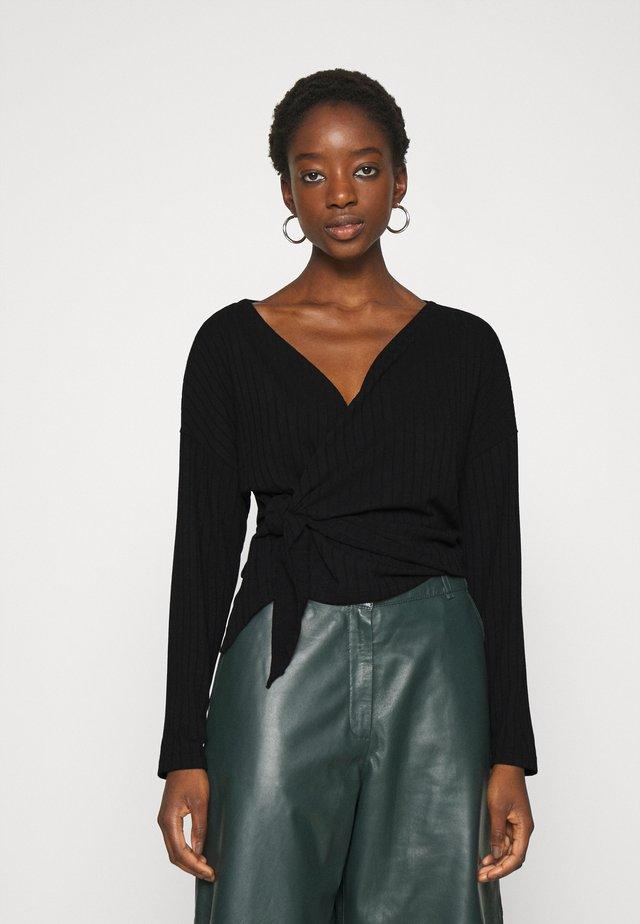 LUXURIOUS WRAP - Long sleeved top - black