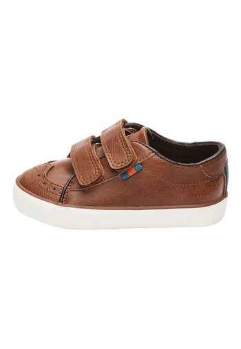 TAN BROGUE STRAP TOUCH FASTENING SHOES (YOUNGER)