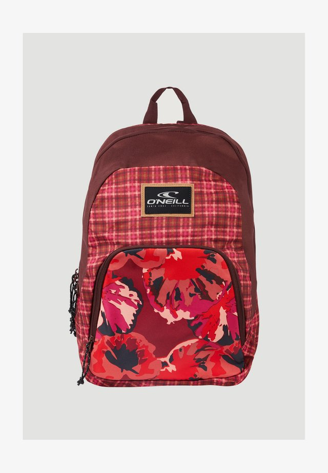 WEDGE BACKPACK - Rugzak - red aop w/pink or purple