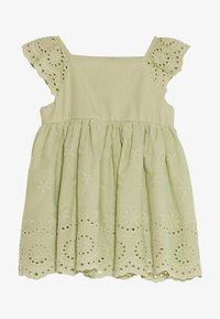 LC Waikiki - SQUARE NECK SHORT SLEEVE BABY GIRL EXCLUSIVE AND HAIR BAND - Day dress - green - 0