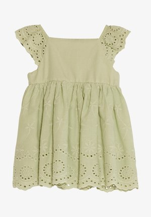 SQUARE NECK SHORT SLEEVE BABY GIRL EXCLUSIVE AND HAIR BAND - Day dress - green