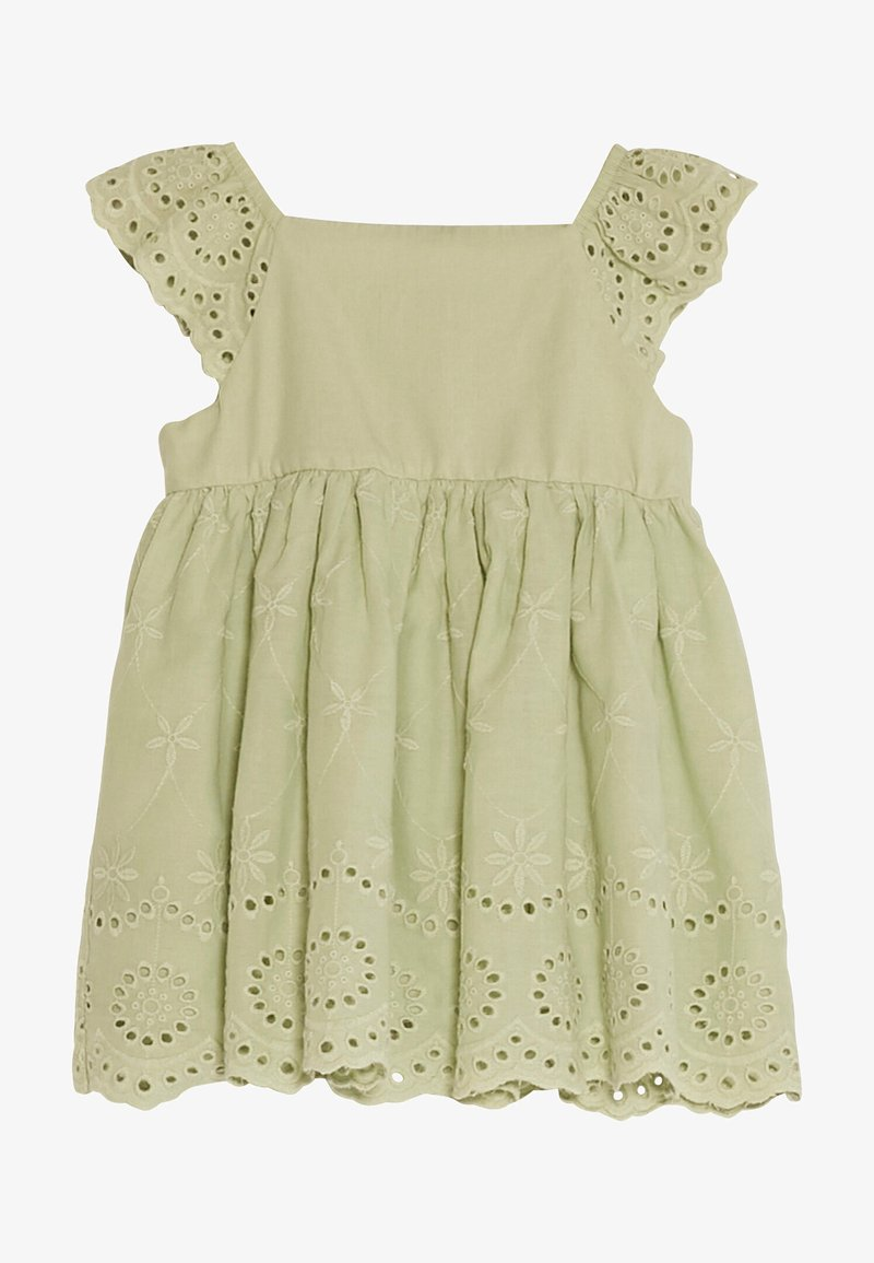 LC Waikiki - SQUARE NECK SHORT SLEEVE BABY GIRL EXCLUSIVE AND HAIR BAND - Day dress - green