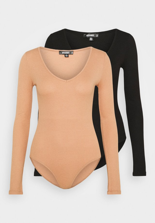 V NECK 2 PACK  - T-shirt à manches longues - black/tan
