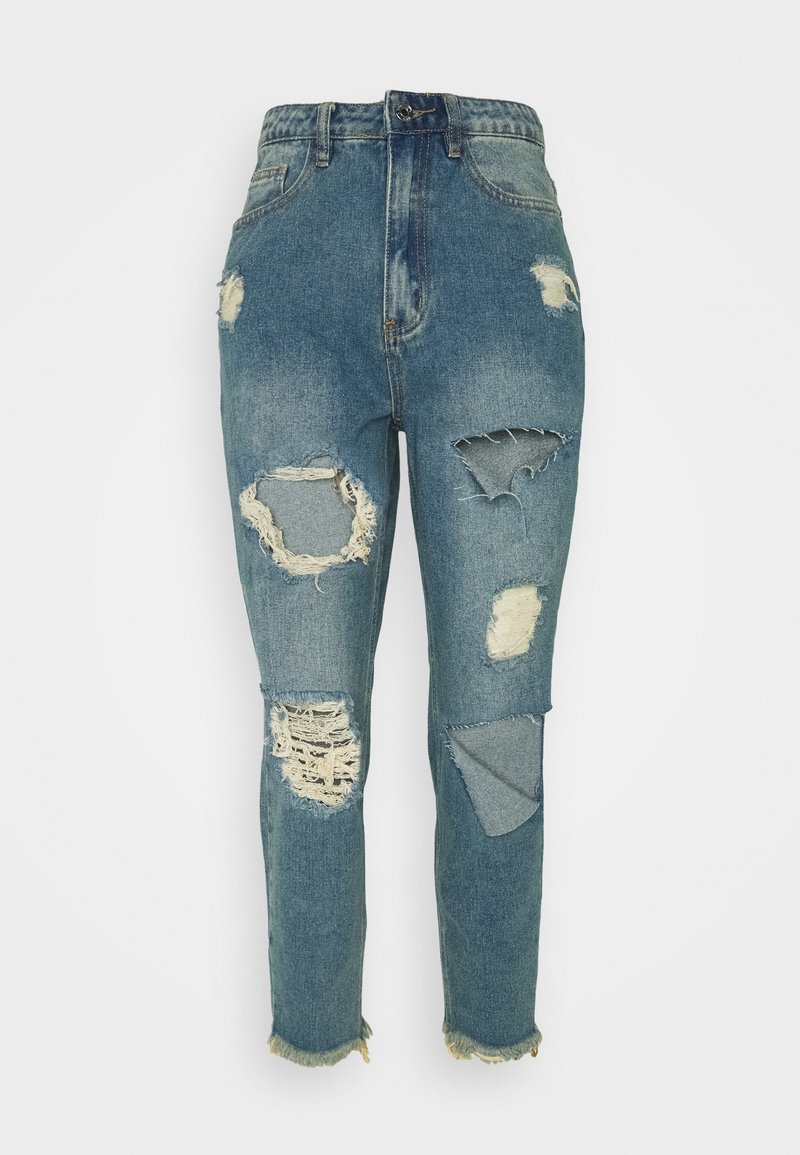 Missguided Petite - RIOT HIGH RISE RIPPED MOM AUTHENTIC - Jeans straight leg - blue