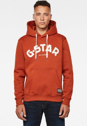 VARSITY FELT HOODED LONG SLEEVE - Hoodie - cinnamon orange