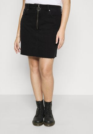 ZIPPER SKIRT - Denim skirt - black