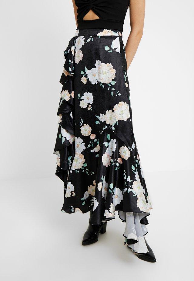CLOVER RUFFLE SKIRT - Maxi skirt - black