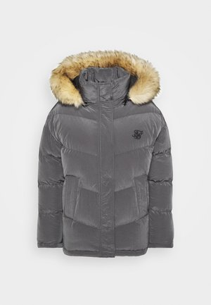 CHEVRON PADDED FUR HOOD JACKET - Winter jacket - grey