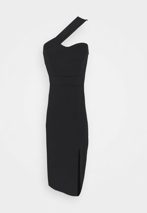 QUINNY ONE SHOULDER MIDI - Cocktail dress / Party dress - black