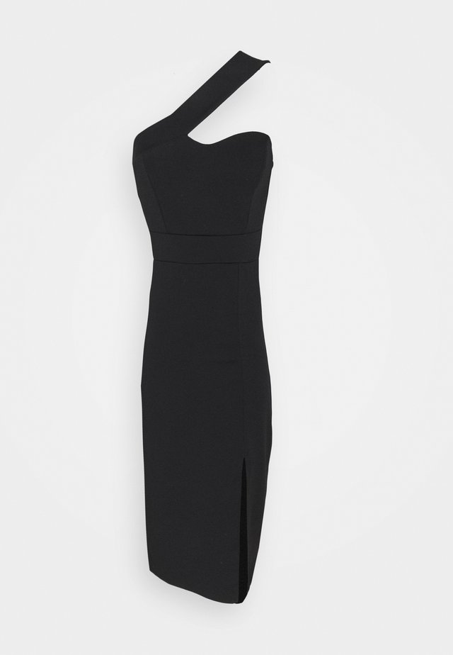 QUINNY ONE SHOULDER MIDI - Sukienka koktajlowa - black