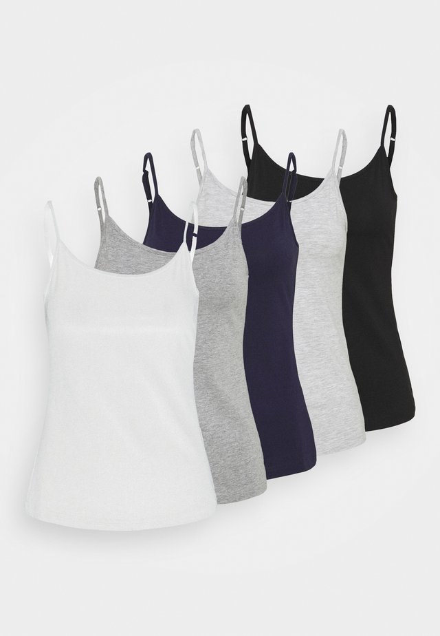 5 PACK - Top - black/white/light grey
