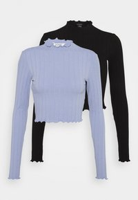 Monki - BLAZE 2 PACK - Long sleeved top - blue light/black - 0