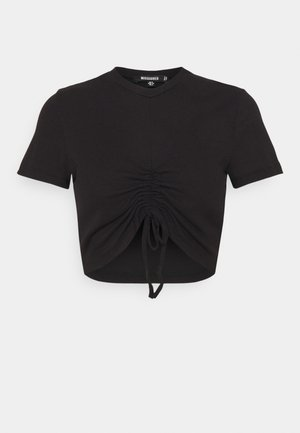 RUCHED SEAM SHORT SLEEVE - T-shirt z nadrukiem - black