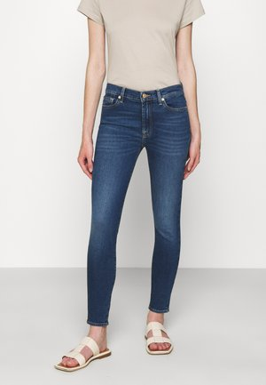 HIGH WAIST CROP - Jeans Skinny Fit - mid blue