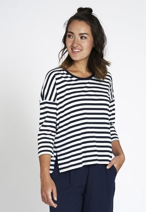 Long sleeved top - navy / white