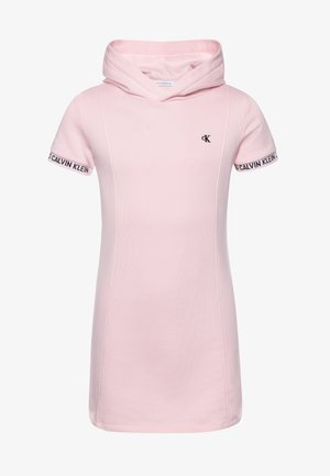 LOGO INTARSIA HOODED DRESS - Denní šaty - pink
