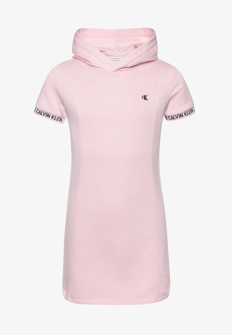 Calvin Klein Jeans - LOGO INTARSIA HOODED DRESS - Day dress - pink