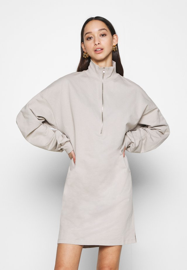 FRONT ZIP DRESS - Day dress - greige