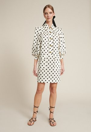 Shirt dress - panna/pois nero