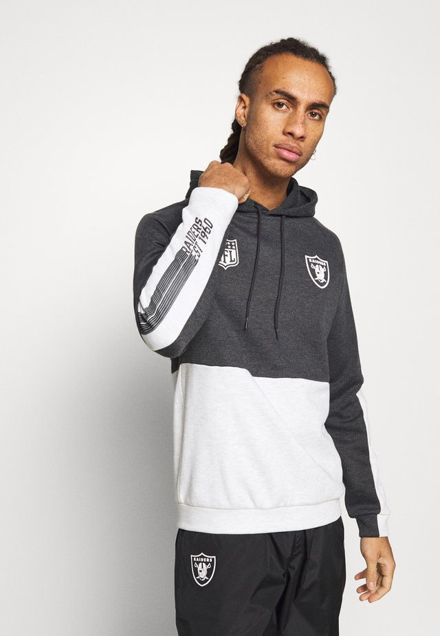 NFL COLOUR BLOCK HOODY OAKLAND RAIDERS - Squadra - grey