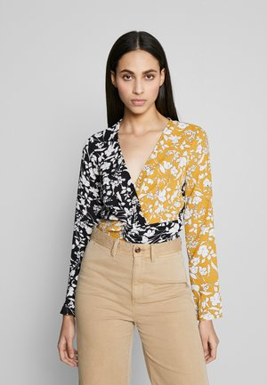 FLORAL TWIST FRONT TOP - Blouse - black