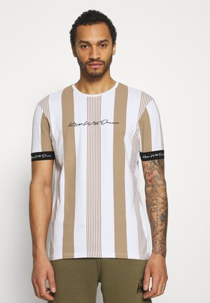 VEDTON STRIPE TEE - T-shirt con stampa - sand/white