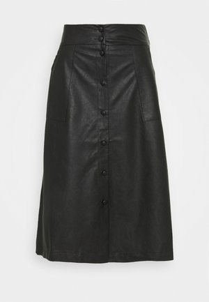 VIASENNA MIDI COATED SKIRT - A-line skirt - black