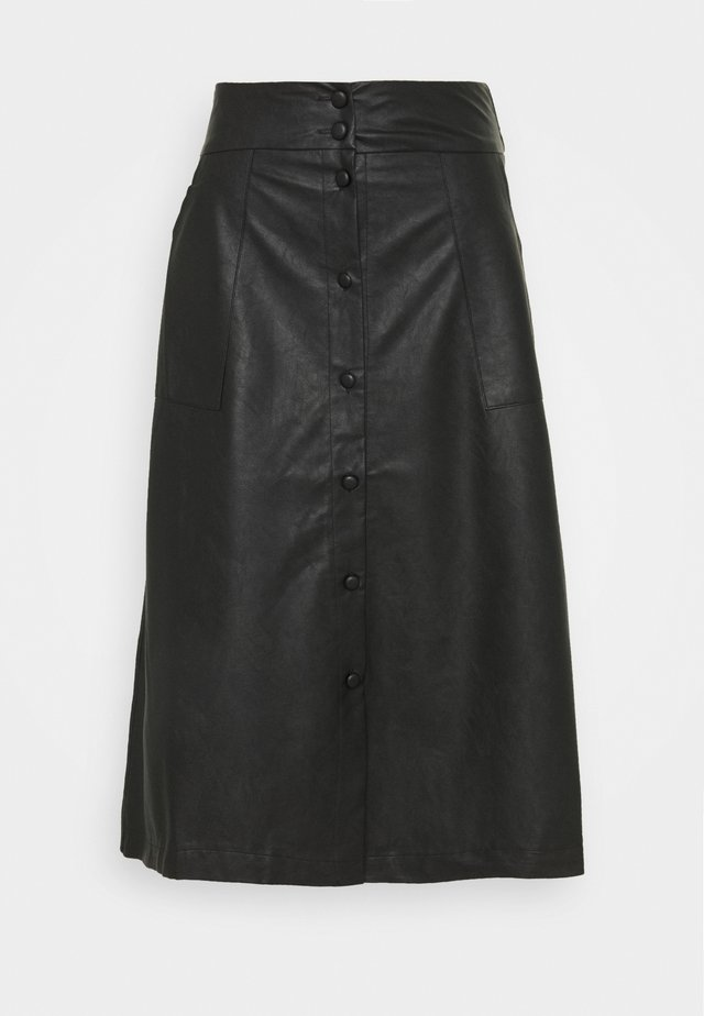 VIASENNA MIDI COATED SKIRT - Jupe trapèze - black