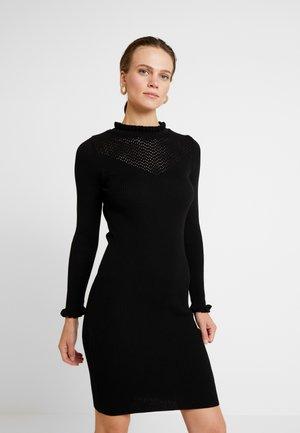 RUFFLE DRESS - Robe pull - black