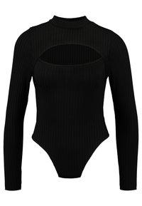 HIGH NECK CUT OUT BODYSUIT - Top sdlouhým rukávem - black