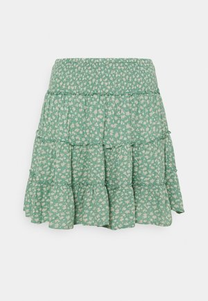 SHIRRED ON TIER MINI SKIRT - Miniskjørt - bright teal