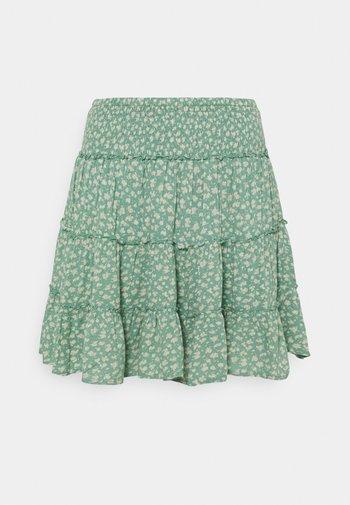 SHIRRED ON TIER MINI SKIRT - Mini skirt - bright teal