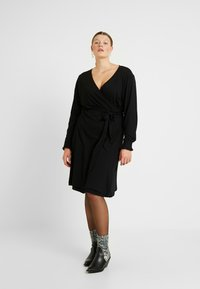 Kaffe Curve - PINA WRAP DRESS - Jersey dress - black deep - 2