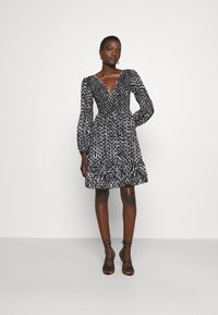 MICHAEL Michael Kors - ZEBRA SMOCK DRESS - Cocktail dress / Party dress - white/black - 1